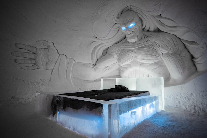 A White Walker sculpted out of ice looks down at a hotel bed inside the Lapland Hotels SnowVillage. (Tuomas Kurtakko/ Lapland Hotel SnowVillage)