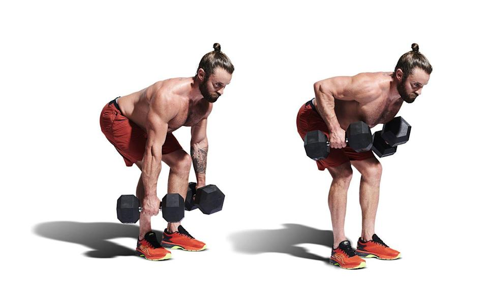 <p>After your floor presses, hop back up with your dumbbells and hinge at your hips, lowering them to your knees (A). Maintaining a flat back, row the dumbbells towards your hips (B). Squeeze at the top before lowering and repeating.</p>
