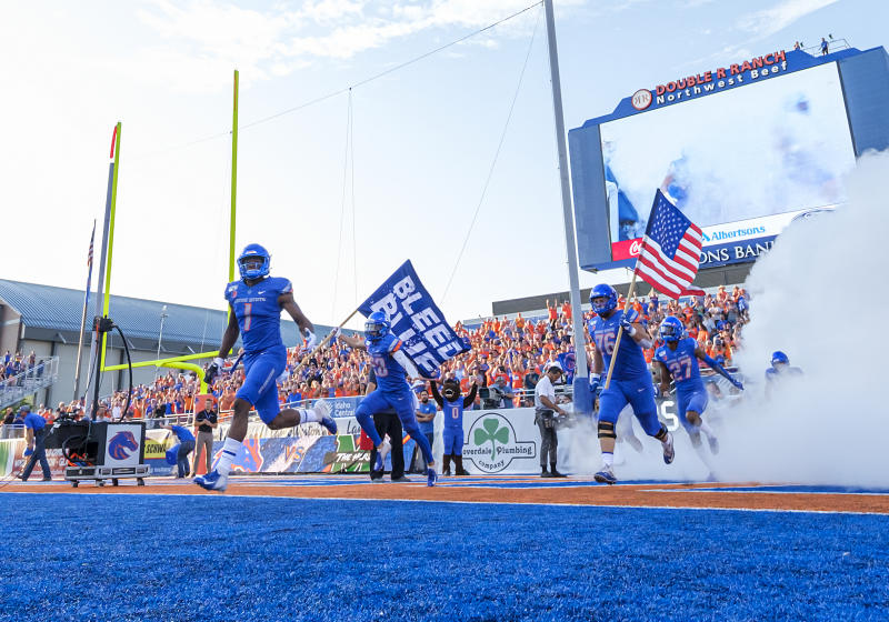 BOISE, ID - SEPTEMBER 06: Boise State Broncos wide receiver Octavius Evans (1) leads his team onto the field for the preseason game between Marshall and Boise State on Friday, September 06, 2019 at Albertson's Stadium in Boise, Idaho. (Photo by Douglas Stringer/Icon Sportswire via Getty Images)