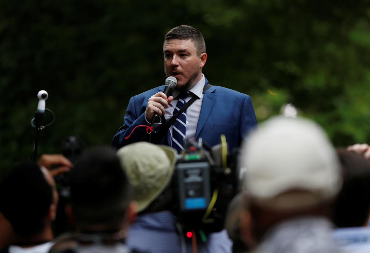 "<p>White nationalist leader Jason Kessler speaks during a rally marking the one year anniversary of the 2017 Charlottesville ""Unite the Right""protests, in Washington, D.C. August 12, 2018. (Photo: Jim Urquhart/Reuters) </p>"