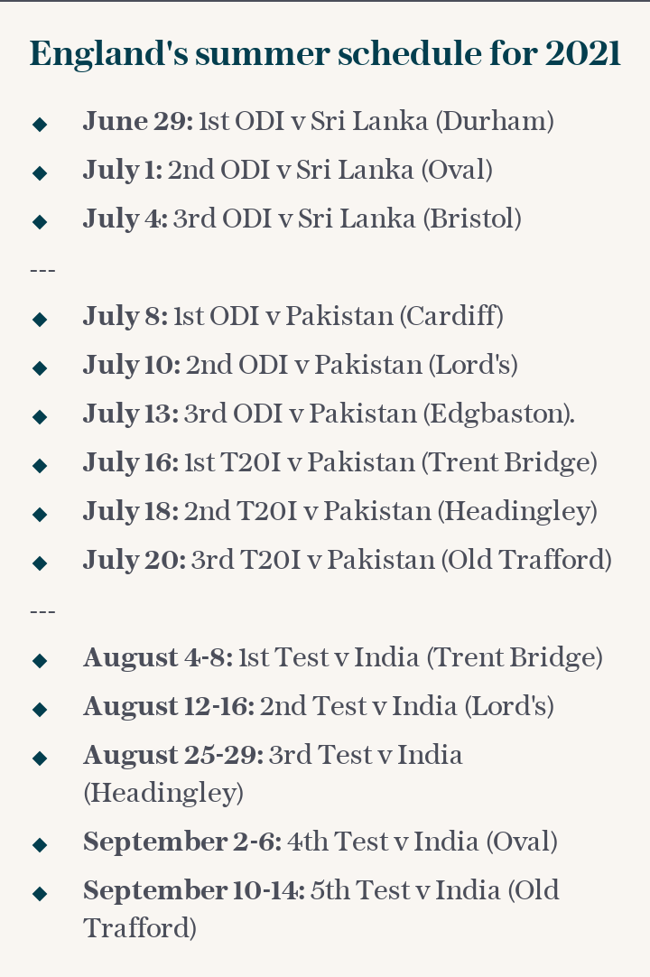 England's summer schedule for 2021
