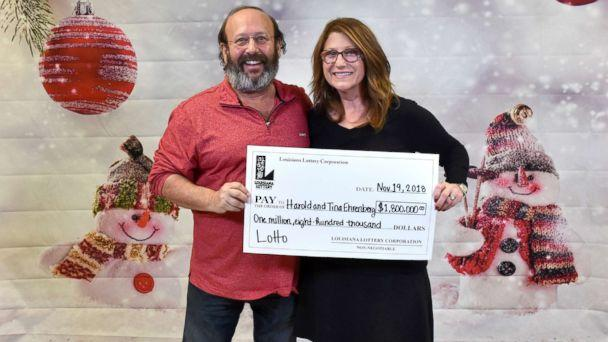 PHOTO: Harold and Tina Ehrenberg demanded a jackpot winning ticket of $ 1.8 million on November 19, 2018 after they found the ticket for the June 6 Louisiana Lottery Lotto drawing while cleaning their home to a welcome family for Thanksgiving. Louisiana Lottery)