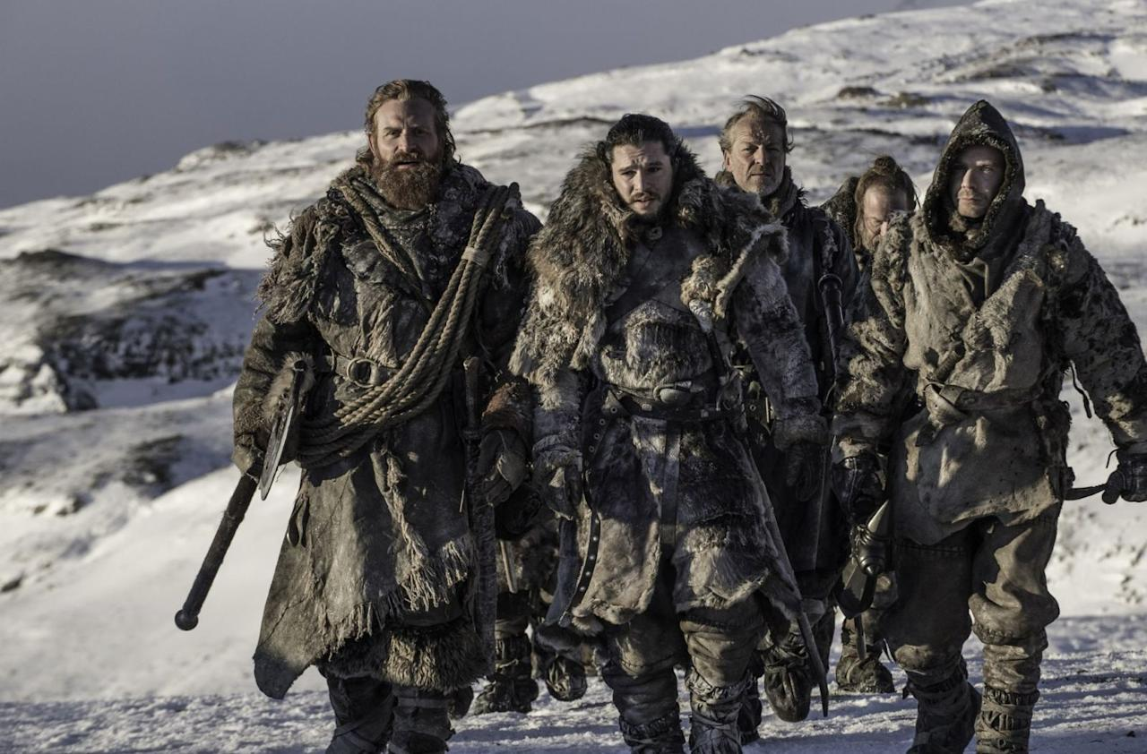 <p>Tormund Giantsbane, Jon Snow, Ser  Jorah Mormont, Thoros of Myr and Gendry set out beyond the Wall<span>. But where are The Hound and Beric Dondarrion<span>?!</span></span></p>