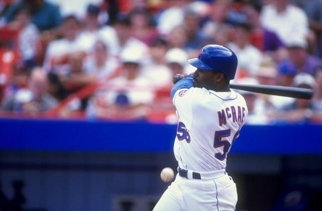 "Brian McRae as a member of the <a class=""link rapid-noclick-resp"" href=""/mlb/teams/ny-mets/"" data-ylk=""slk:Mets"">Mets</a>. (Getty Images)"
