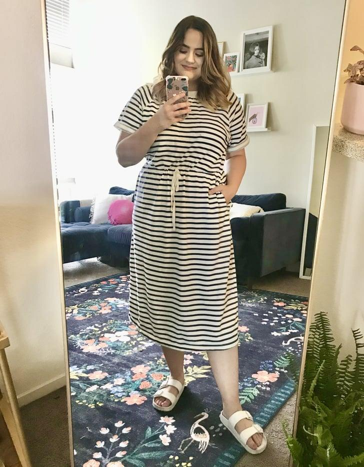 "<p><strong>The item: </strong><span>Waist-Defined Striped French Terry Midi Dress</span> ($40) </p> <p><strong>What our editor said:</strong> ""This came in the mail last week and I've already worn it three times - it's that good. I'm getting sick of my usual sweatpants-and-T-shirt uniform, so I've been on the hunt for comfy yet cute alternatives. This dress is stylish enough to wear to Zoom meetings, yet so soft and wearable I can lounge around in it."" - MCW<br> If you want to read more, here is the complete <a href=""https://www.popsugar.com/fashion/comfortable-old-navy-dress-review-47643208"" class=""link rapid-noclick-resp"" rel=""nofollow noopener"" target=""_blank"" data-ylk=""slk:review"">review</a>.</p>"