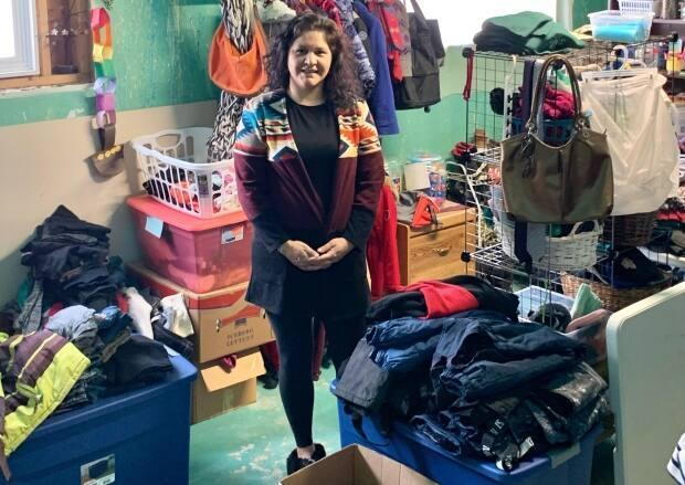 Amanda McArthur operates Rosie's Recycled Treasures, an exchange for gently used clothing, out of her basement on White Bear First Nation. (Submitted by Amanda McArthur - image credit)