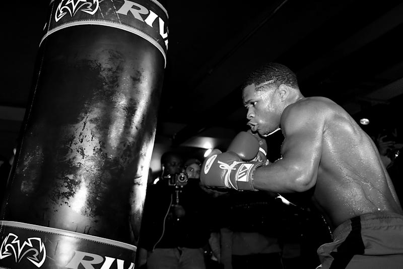 LONDON, ENGLAND - SEPTEMBER 27: (EDITOR'S NOTE: This image has been converted to black and white). Devin Haney trains during the Devin Haney Media Workout at Rathbone Boxing Club on September 27, 2019 in London, England. (Photo by Jack Thomas/Getty Images)