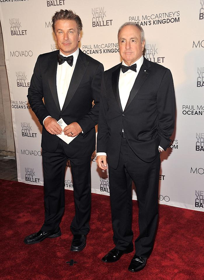 """A trim-looking Alec Baldwin chatted with pal Lorne Michaels as they entered the David Koch Theatre at Lincoln Center. Baldwin will host """"Saturday Night Live"""" for a record 16th time this coming weekend. Gary Gershoff/<a href=""""http://www.wireimage.com"""" target=""""new"""">WireImage.com</a> - September 22, 2011"""