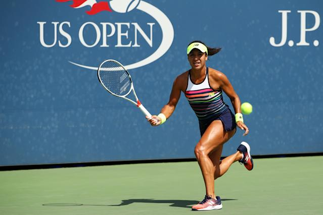 <p>Heather Watson of Great Britain returns a shot during the first round Women's Singles match against Alize Cornet of France on Day One of the 2017 US Open at the USTA Billie Jean King National Tennis Center on August 28, 2017 in the Flushing neighborhood of the Queens borough of New York City. (Photo by Clive Brunskill/Getty Images) </p>