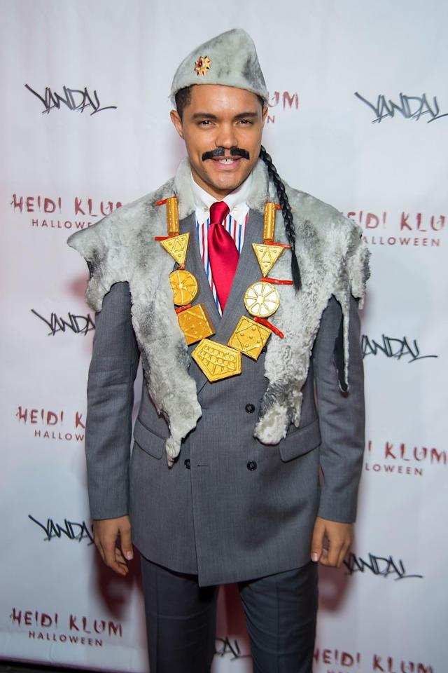 <p>The <i>Daily Show</i> host got his Eddie Murphy on as the Prince of Zamunda Halloween this year. No dancing potential wife in tow. (Photo: Getty Images) </p>