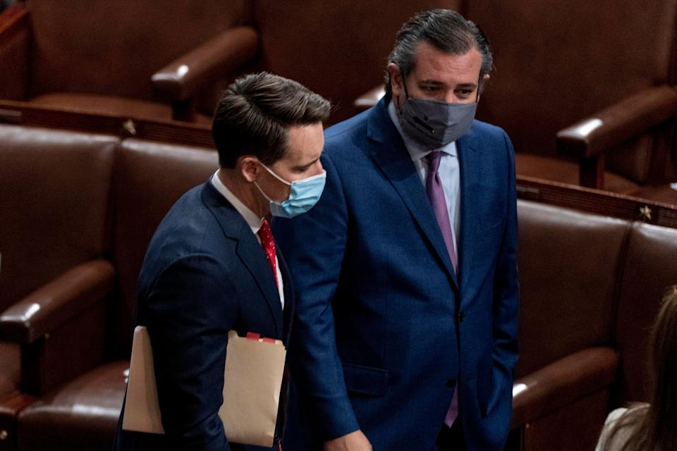 <p>Senators Josh Hawley (left) and Ted Cruz speak after Republicans objected to certifying the Electoral College votes from Arizona</p> (AP)