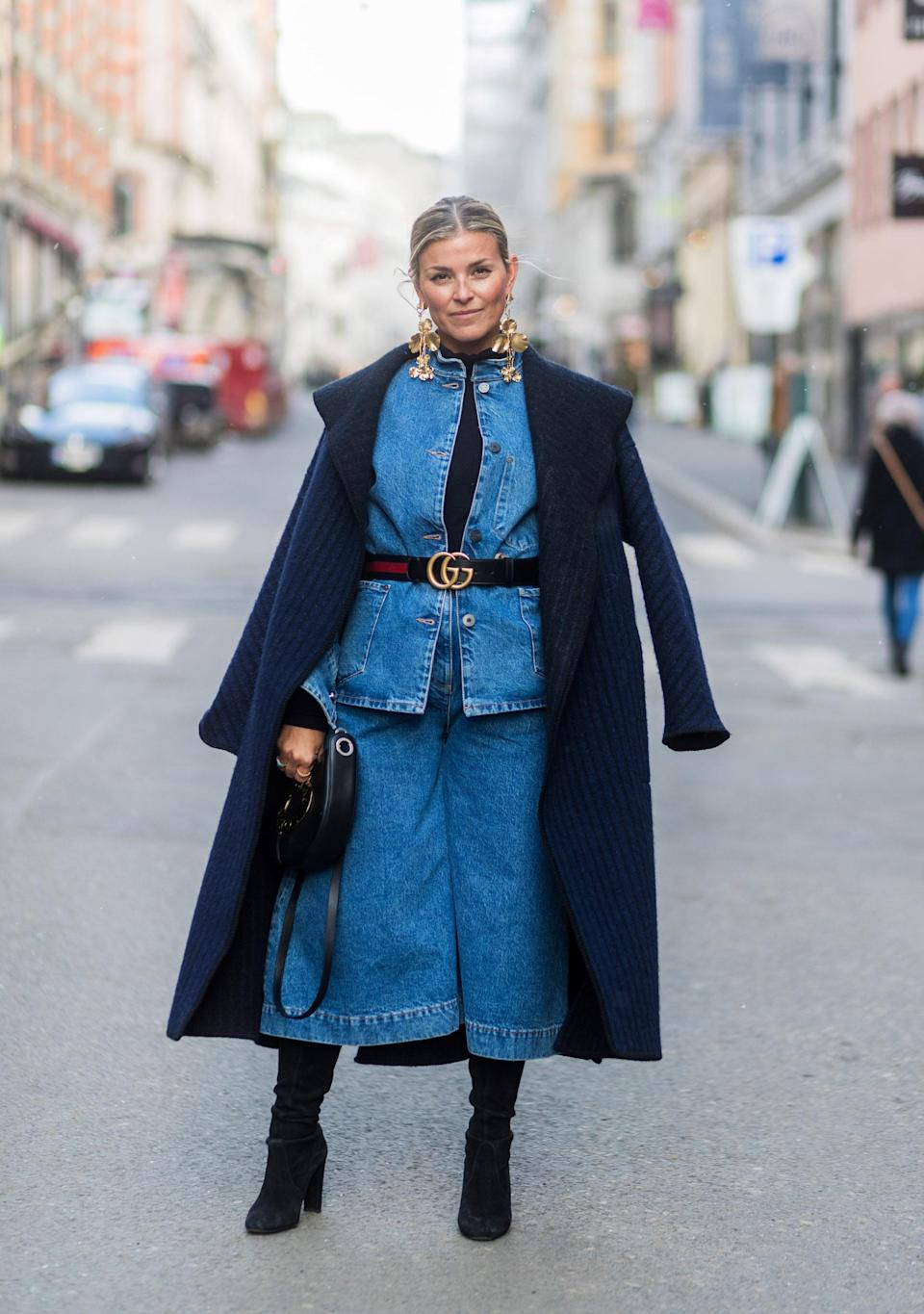 Forget what you think about denim on denim: This belted shirt, culottes, and overcoat are chic as hell.