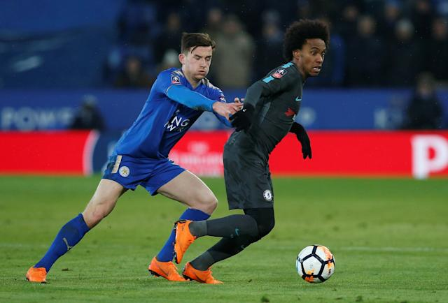 Soccer Football - FA Cup Quarter Final - Leicester City vs Chelsea - King Power Stadium, Leicester, Britain - March 18, 2018 Leicester City's Ben Chilwell in action with Chelsea's Willian REUTERS/Andrew Yates