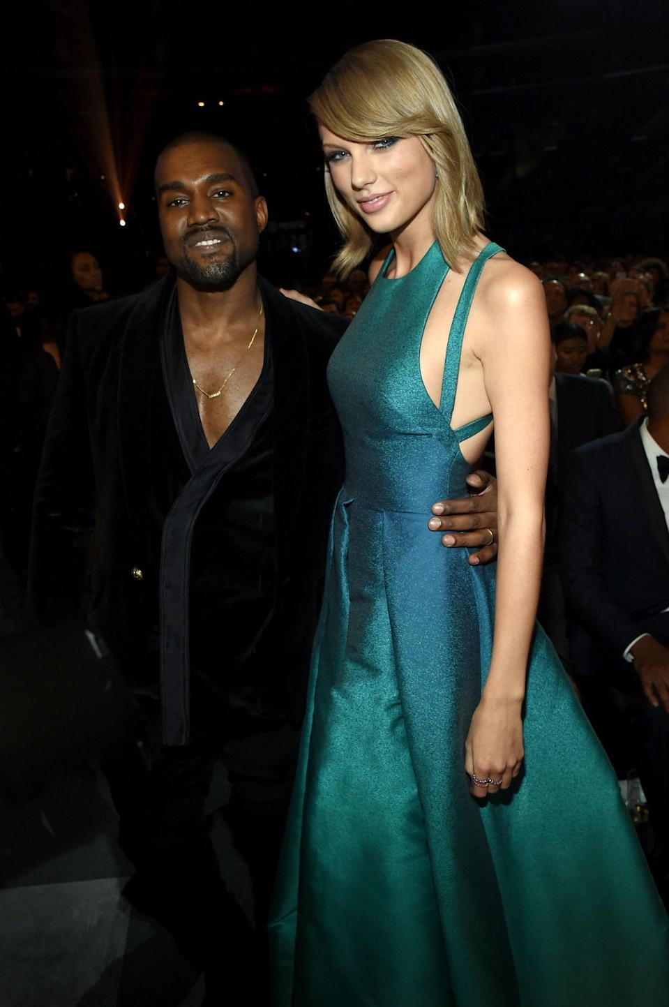 "Though the truce didn't last long, Taylor Swift and Kanye West turned heads when they <a href=""https://www.glamour.com/story/inspiring-photos-that-prove-ev?mbid=synd_yahoo_rss"" rel=""nofollow noopener"" target=""_blank"" data-ylk=""slk:hugged it out"" class=""link rapid-noclick-resp"">hugged it out</a> at the 2015 Grammy Awards—about eight years after <a href=""https://www.glamour.com/story/kanye-west-says-god-wanted-him-to-interrupt-taylor-swift-at-the-2009-vmas?mbid=synd_yahoo_rss"" rel=""nofollow noopener"" target=""_blank"" data-ylk=""slk:that VMAs moment"" class=""link rapid-noclick-resp""><em>that</em> VMAs moment</a>. It was nice while it lasted!"