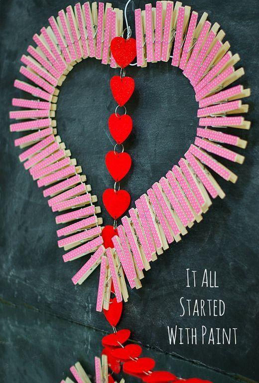 "<p>This eye-catching project is super easy and affordable to make using everyday supplies. All you need to pull it together are clothespins, a wire hanger and colorful tape.</p><p><em><a href=""https://www.itallstartedwithpaint.com/clothespin-heart-wreath/"" rel=""nofollow noopener"" target=""_blank"" data-ylk=""slk:Get the how-to at It All Started With Paint»"" class=""link rapid-noclick-resp"">Get the how-to at It All Started With Paint»</a></em><br></p>"