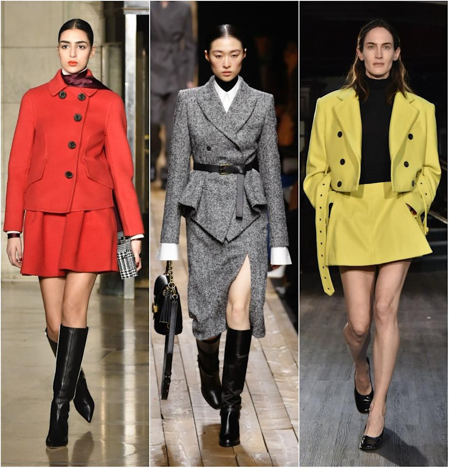<p>What comes around goes around and—surprise—the skirt suit is definitely back for Fall 2020. Seen attop designers including Michael Kors and Oscar de la Renta, this silhouette has been revived with options that feel very right now thanks to swingy minis with cropped jackets and pencil skirts with belted blazers.</p> <p><em>From left: Oscar de la Renta; Michael Kors; Eckhaus Latta</em></p>