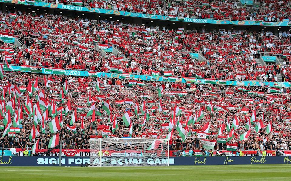 Packed stadium behind goal in Budapest - GETTY IMAGES