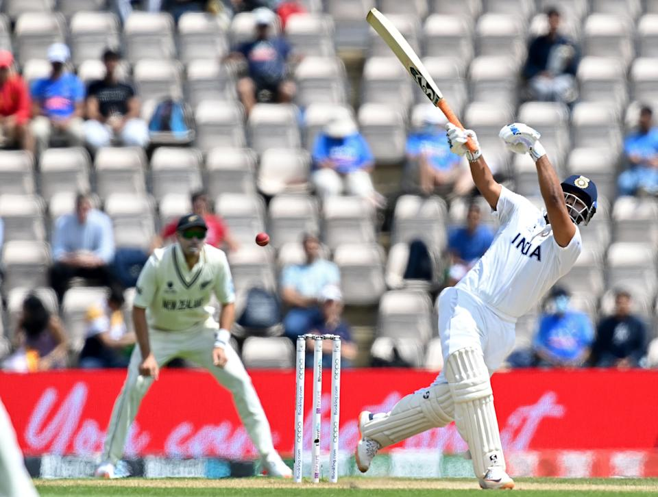 India's Rishabh Pant plays a shot on the final day of the ICC World Test Championship Final between New Zealand and India at the Ageas Bowl in Southampton, southwest England on June 23, 2021. - RESTRICTED TO EDITORIAL USE (Photo by Glyn KIRK / AFP) / RESTRICTED TO EDITORIAL USE (Photo by GLYN KIRK/AFP via Getty Images)