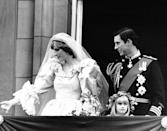 <p>On their July 28, 1981 wedding day, Prince Charles and Princess Diana look out at the London crowds from the balcony of Buckingham Palace. Diana was just 20 years old when she became the Princess of Wales.</p>