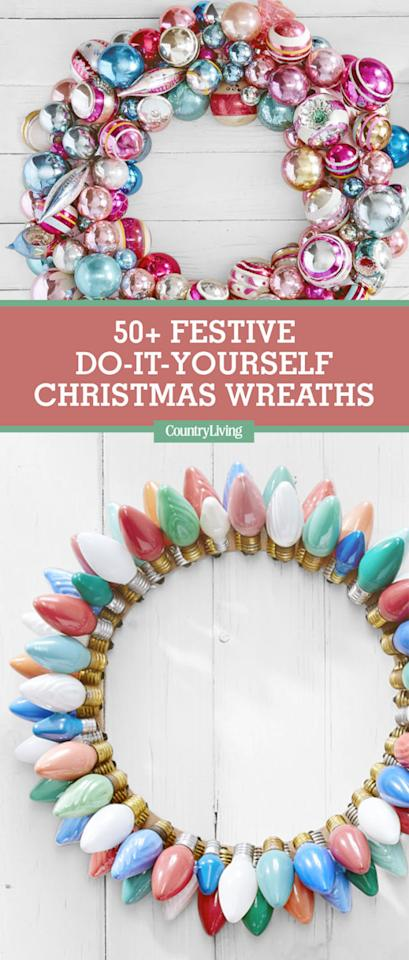 50 festive do it yourself christmas wreath ideas. Black Bedroom Furniture Sets. Home Design Ideas