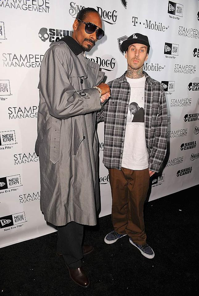 "Musicians Snoop Dogg and Travis Barker hit up the Vanguard in Hollywood to celebrate their dual achievements -- the 10th anniversary of Barker's clothing line Famous Stars And Straps, and the launch of Snoop's 10th album <i>Malice N Wonderland </i>. Michael Kovac/<a href=""http://www.filmmagic.com/"" target=""new"">FilmMagic.com</a> - December 8, 2009"