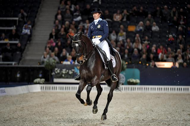 Equestrian - Sweden International Horse Show - Fei Grand Prix Dressage Qualification Event - Friends Arena, Stockholm, Sweden - December 2, 2017. Tinne Vilhelmson Silfven of Sweden rides her horse Paridon Magi. TT News Agency/Jessica Gow via REUTERS ATTENTION EDITORS - THIS IMAGE WAS PROVIDED BY A THIRD PARTY. SWEDEN OUT. NO COMMERCIAL OR EDITORIAL SALES IN SWEDEN