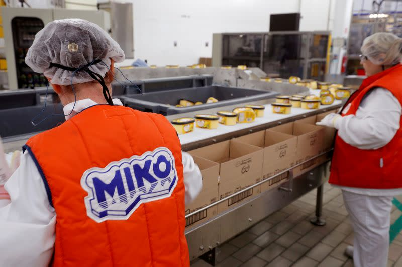 FILE PHOTO: Employees prepare boxes of ice cream at the Miko Carte d'Or, part of the Unilever group, factory in Saint-Dizier