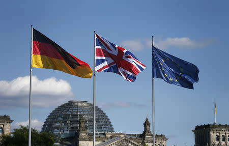 German British and European Union flags fly in front of the Reichstag building in Berlin