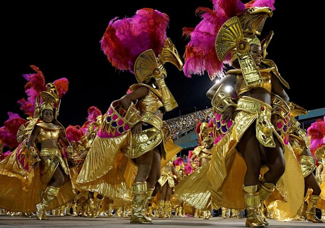 <p>Revellers from Salgueiro perform during the second night of the Carnival parade at the Sambadrome in Rio de Janeiro, Brazil, Feb. 12, 2018. (Photo: Ricardo Moraes/Reuters) </p>