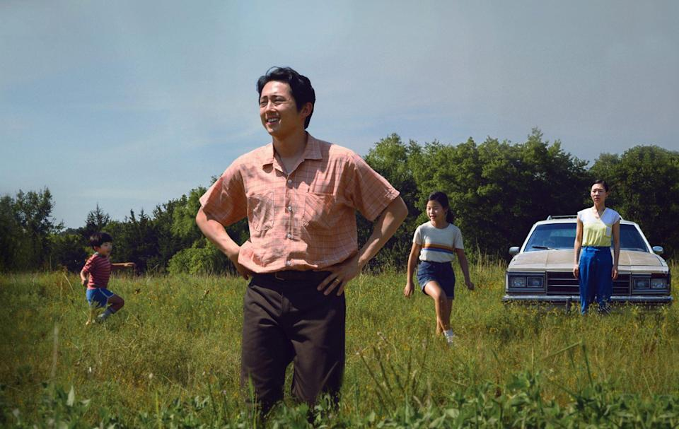"""<p>Yeun's latest film <em>Minari</em> follows the Korean American Yi family, who try to live out the American dream through farming in rural Arkansas in the 1980s. The drama is based on director Lee Isaac Chung's real-life upbringing and debuted with high remarks at Sundance in 2020, winning both the Audience Award and the Grand Jury Prize.</p> <p>It's <a href=""""https://people.com/movies/oscars-2021-complete-list-of-nominees/"""" rel=""""nofollow noopener"""" target=""""_blank"""" data-ylk=""""slk:up for six Oscars this year"""" class=""""link rapid-noclick-resp"""">up for six Oscars this year</a>, including Best Picture, Best Supporting Actress (Youn Yuh-jung), Best Director, Best Original Score, Best Original Screenplay and Best Actor for Yeun. <a href=""""https://people.com/movies/oscars-2021-steven-yeun-chloe-zhao-make-history/"""" rel=""""nofollow noopener"""" target=""""_blank"""" data-ylk=""""slk:Yeun is the first Asian-American actor"""" class=""""link rapid-noclick-resp"""">Yeun is the first Asian-American actor</a> nominated for Best Actor while Yuh-jung is the first South Korean actress nominated for Best Supporting Actress.</p> <p>The film took home best motion picture in a foreign language at this year's Golden Globes. Although the <a href=""""https://people.com/movies/stars-slam-golden-globes-as-american-set-drama-minari-competes-in-foreign-language-category/"""" rel=""""nofollow noopener"""" target=""""_blank"""" data-ylk=""""slk:Globes received backlash for placing the film in the foreign language category"""" class=""""link rapid-noclick-resp"""">Globes received backlash for placing the film in the foreign language category</a> even though it is an American film, with an American lead and director, Yeun simply directed his attention to the release of the film, <a href=""""https://www.instagram.com/p/CKAftd5ph45/"""" rel=""""nofollow noopener"""" target=""""_blank"""" data-ylk=""""slk:posting the movie poster on Instagram"""" class=""""link rapid-noclick-resp"""">posting the movie poster on Instagram</a> and writing the caption, """"this one is for everybody.""""</p> <p>Y"""
