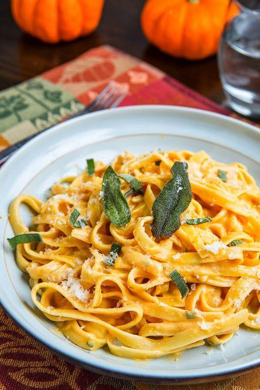 """<p>This thick and creamy Alfredo is easy to make, but its flavor profile is far from simple. Based with butter, garlic, cream, pumpkin puree, and goat cheese, it's a sweet and tangy combination for coating fettuccine.</p><p><strong>Get the recipe at <a href=""""http://www.closetcooking.com/2013/10/pumpkin-goat-cheese-fettuccine-alfredo.html?m=1"""" rel=""""nofollow noopener"""" target=""""_blank"""" data-ylk=""""slk:Closet Cooking"""" class=""""link rapid-noclick-resp"""">Closet Cooking</a>.</strong></p>"""
