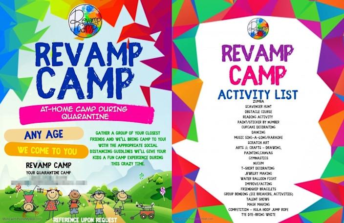 A Revamp Camp advertisement. Insider edited the flyer to protect private information.