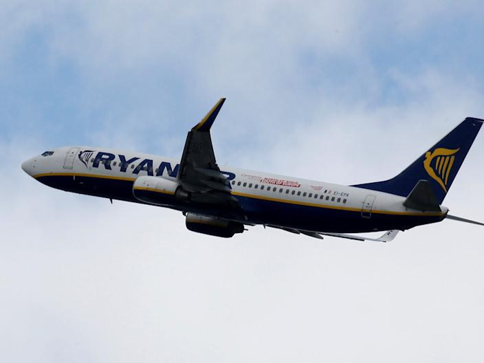 FILE PHOTO: A Ryanair commercial passenger jet takes off in Blagnac near Toulouse, France, May 29, 2019. REUTERS/Regis Duvignau/File Photo