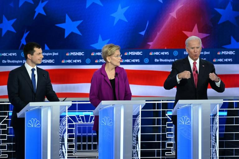 A clash of the Democratic titans, including (from left) Mayor Pete Buttigieg, Senator Elizabeth Warren and former vice president Joe Biden proved less explosive than anticipated in the party's fifth presidential nomination debate of the 2020 cycle (AFP Photo/SAUL LOEB)