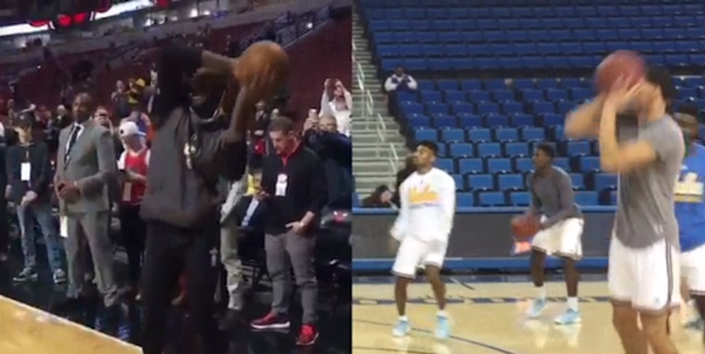 LeBron went to an … uh, let's just say odd shooting form in pregame warmups.
