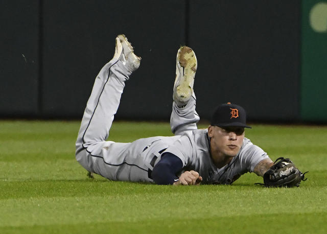 Detroit Tigers center fielder JaCoby Jones makes the catch on a ball hit by Chicago White Sox's Ryan Cordell during the sixth inning of a baseball game Wednesday, Sept. 5, 2018, in Chicago. (AP Photo/David Banks)