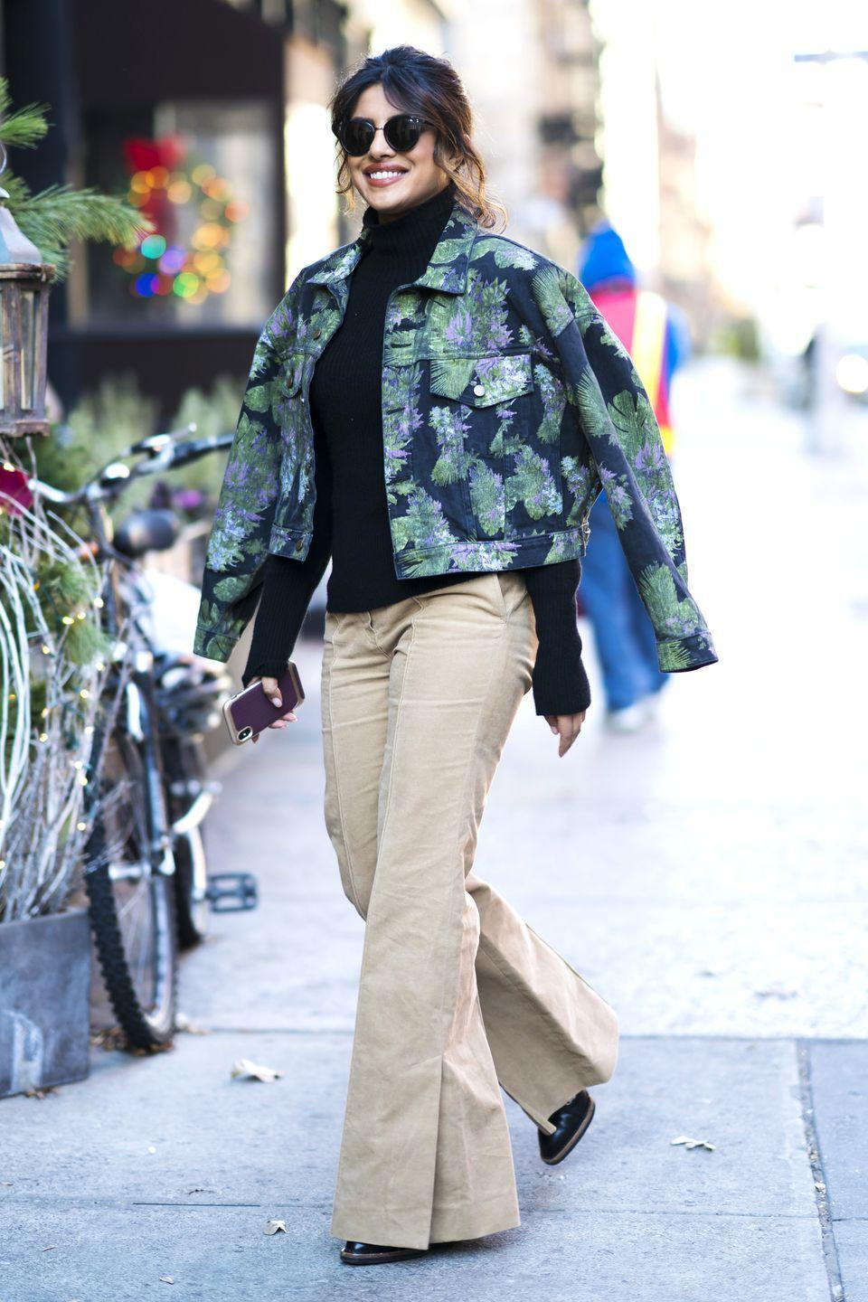 """<p>Regardless of the season, a floral denim jacket adds a feminine touch to neutral basics. Take style cue from Priyanka Chopra and go for an unexpected color combo. </p><p><em>Alice + Olivia floral denim jacket, $95, <a href=""""https://www.neimanmarcus.com/p/paige-harrison-button-front-denim-jacket-with-floral-embossing-prod206660001?childItemId=NMTWHY5_"""" rel=""""nofollow noopener"""" target=""""_blank"""" data-ylk=""""slk:neimanmarcus.com"""" class=""""link rapid-noclick-resp"""">neimanmarcus.com</a>.</em></p><p><a class=""""link rapid-noclick-resp"""" href=""""https://www.neimanmarcus.com/p/paige-harrison-button-front-denim-jacket-with-floral-embossing-prod206660001?childItemId=NMTWHY5_"""" rel=""""nofollow noopener"""" target=""""_blank"""" data-ylk=""""slk:SHOP"""">SHOP</a><br></p>"""