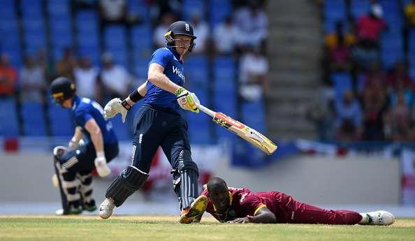 ST JOHNS, ANTIGUA - MARCH 03: Sam Billings of England scores runs from the bowling of Carlos Brathwaite of the West Indies during the first One Day International between the West Indies and England at Sir Vivian Richards Cricket Ground on March 3, 2017 in St Johns, Antigua. (Photo by Gareth Copley/Getty Images)