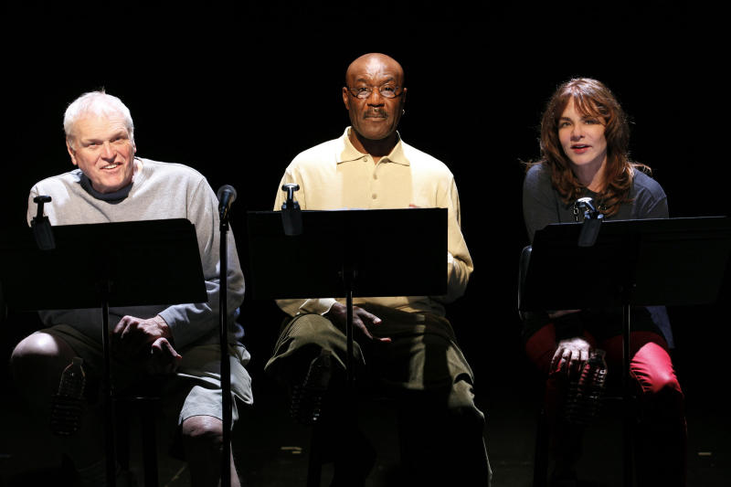 "This publicity photo released by O&M Co. show, from left, Brian Dennehy, Delroy Lindo and Stockard Channing, part of the rotating celebrity cast in the 10th-anniversary production of  ""The Exonerated,""  performing off-Broadway at Culture Project in New York.  (AP Photo/O&M Co., Carol Rosegg)"