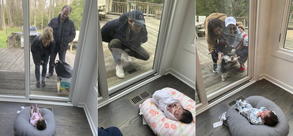 This combination of photos shows Suzy and Ricky Stone visiting with their granddaughter Gigi Guyuron through a window of their daughter Jen Guyuron's home on April 18, 2020, in Cleveland, Ohio, left, Guyuron's brother Bryan Stone visiting on March 21, 2020, center, and Jen Charet and Jason Charet visiting with Gigi on April 23. Pregnancy, birth and life with a newborn in the middle of a pandemic has brought on high anxiety, ever-shifting hospital protocols and intense isolation for many of the millions of women who have done it around the world. (Jen Guyuron via AP)