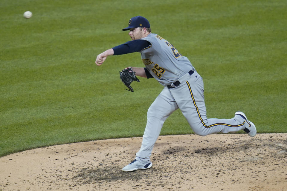 Milwaukee Brewers starting pitcher Brett Anderson throws to a Pittsburgh Pirates batter during the fifth inning of a baseball game Tuesday, July 27, 2021, in Pittsburgh. (AP Photo/Keith Srakocic)