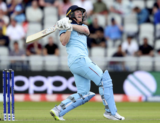 England's captain Eoin Morgan bats during the Cricket World Cup match between England and Afghanistan at Old Trafford in Manchester, England, Tuesday, June 18, 2019. (AP Photo/Rui Vieira)