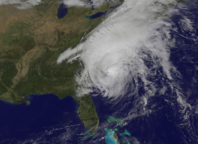 <p>Hurricane Matthew's center is seen near the coast of South Carolina in this satellite image captured at 1115 EDT (1515 GMT) on Oct. 8, 2016. (Photo: NOAA's GOES-East satellite/NASA/Handout via Reuters) </p>