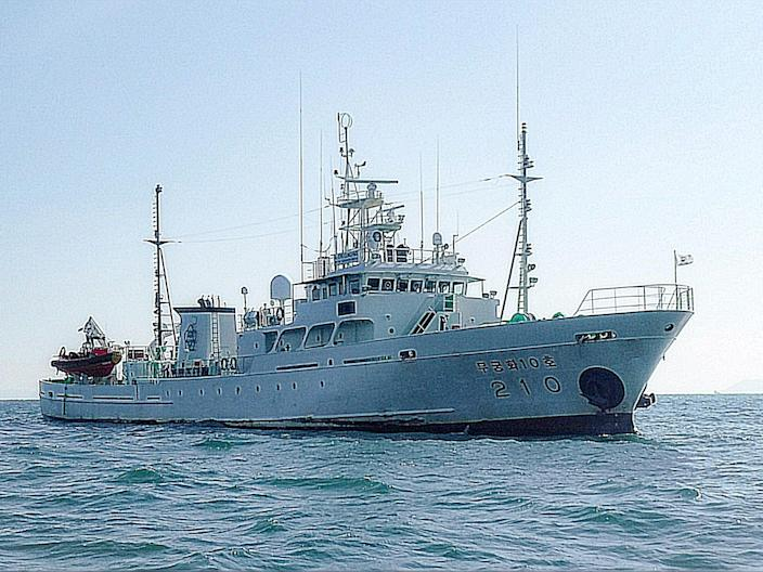 The Mugungwha 10 fisheries patrol vessel at an undisclosed location (YONHAP/AFP via Getty Images)