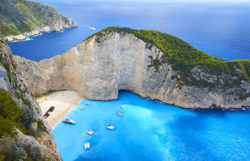 <p>The Greek island of Zakynthos is home to one of the world's most beautiful beaches known as Navagio. <em>[Photo: Getty]</em> </p>