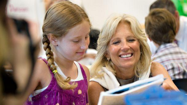 PHOTO: Jill Biden sits with second grader Madison LaValle on a tour of Fort Belvoir Elementary School with Secretary of Education Arne Duncan, June 22, 2010. (Sarah L. Voisin/The Washington Post via Getty Images)