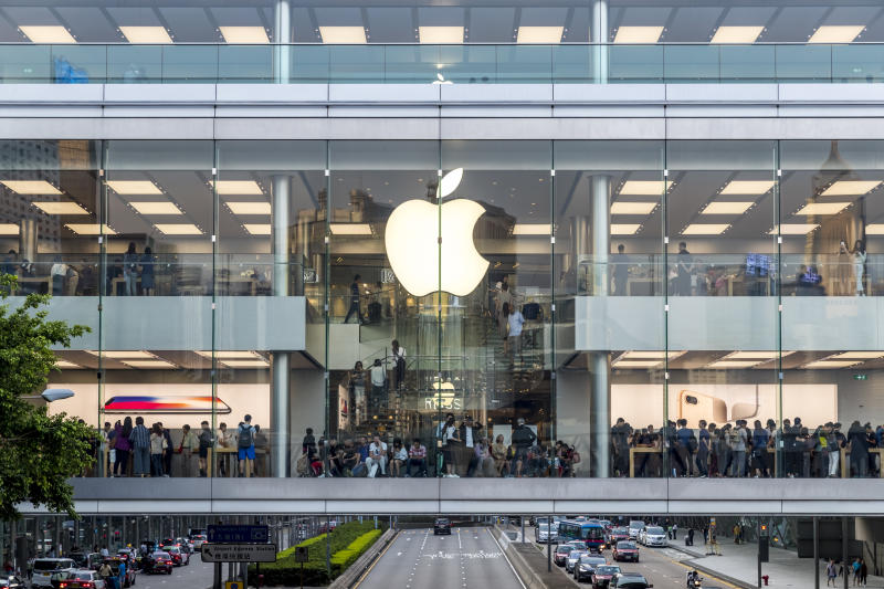 Crowded people shopping at Apple store of IFC mall just 5 days before iPhone X release at Sunday afternoon