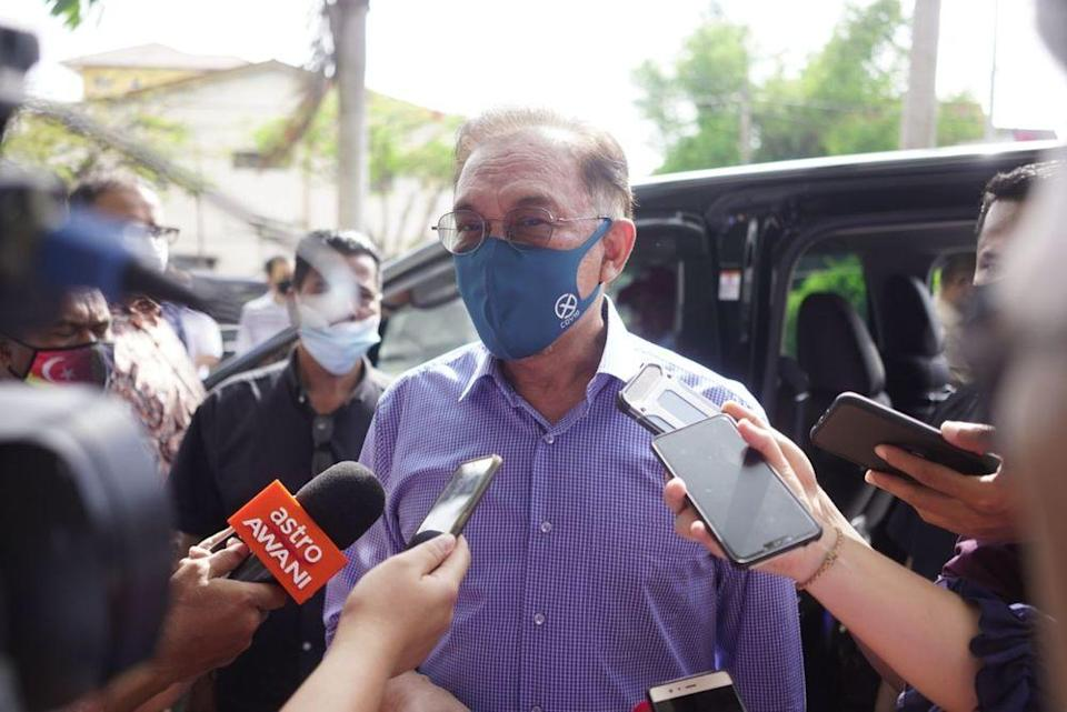 Anwar Ibrahim speaking to reporters after a PKR meeting in Kedah, December 24, 2020. — Picture courtesy of PKR