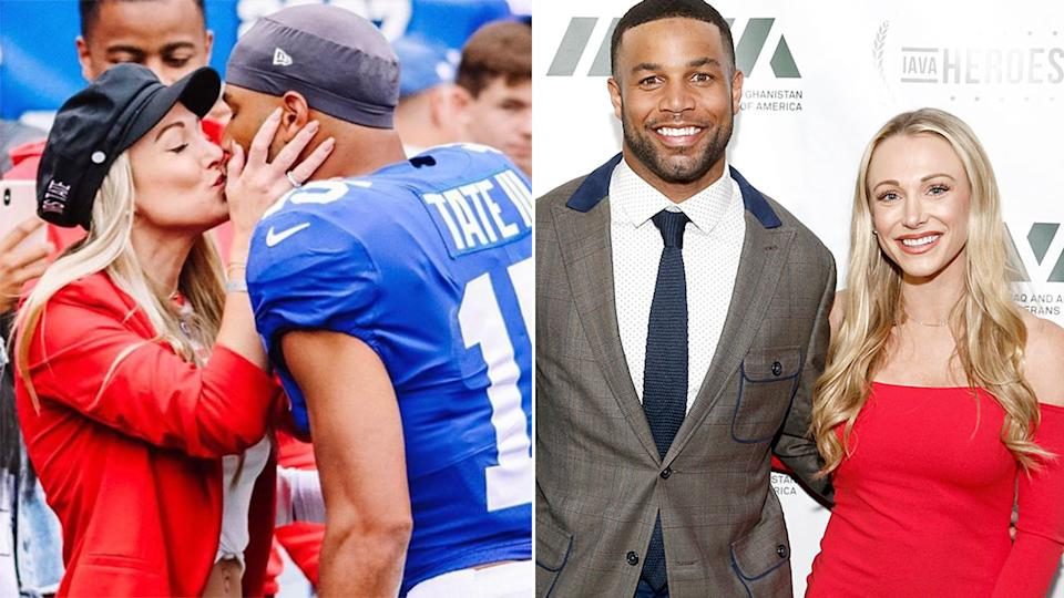 Pictured here, Elise Tate with her NFL star husband, Golden.