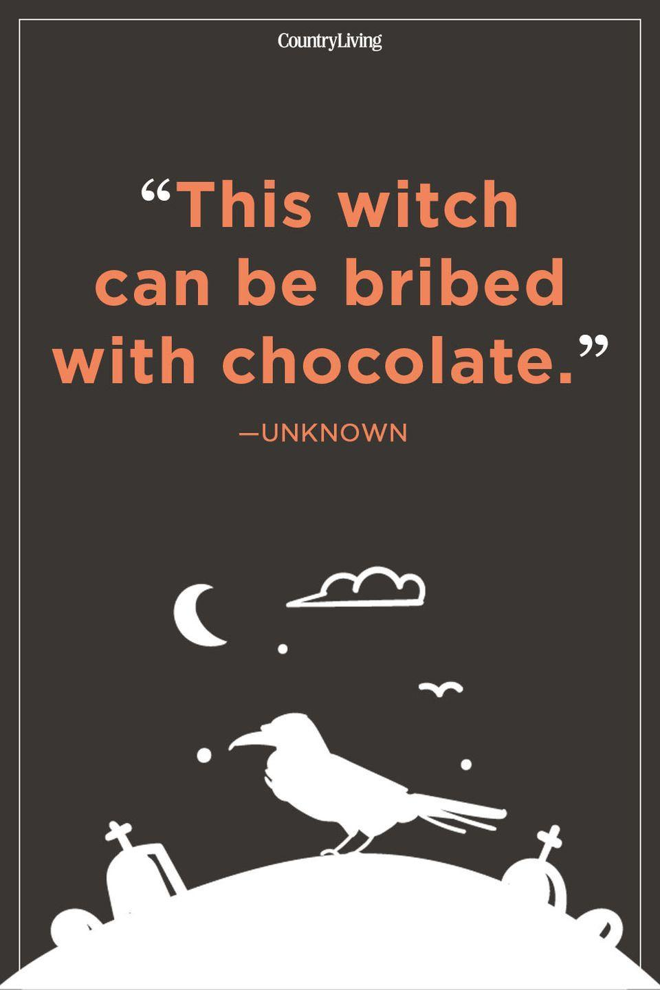 """<p>""""This witch can be bribed with chocolate.""""</p>"""